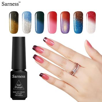 Sarness Black Bottle/LOT 7ml Nail Gel Polish Temperature Color Changing Soak-off LED Lamp UV Gel Nail Polish Set