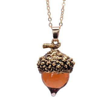 Women Acorn Charms Necklace