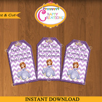 Sofia the First Thank You Tags-Disney Thank You Tags-Princess Sofia party favor Tags-Princess Sofia Birthday Party Labels - INSTANT DOWNLOAD