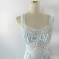 1950s Night Gown Blue nylon Nightgown Full by blythehopesvintage