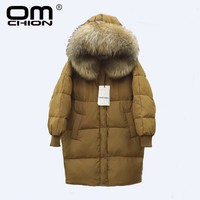 New Luxury Raccoon Fur Winter Jacket Women Long Sleeve Thick Hooded White Duck Down Coat Warm
