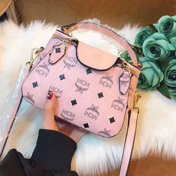 MCM Fashion Women Shopping Leather Crossbody Satchel Shoulder Bag Handbag Pink I-AGG-CZDL