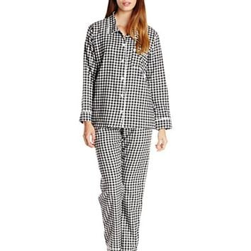 Women's Gingham Flannel Pajama Set