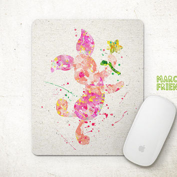 Piglet Mouse Pad, Winnie the Pooh Watercolor Art, Mousepad, Office Decor, Gifts, Art Print, Desk Deco, Computer Mouse, Disney Accessories