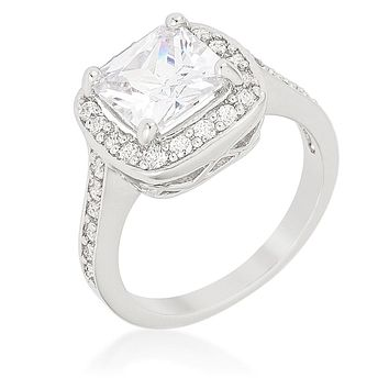 WildKlass Halo Style Cushion Cut Engagement Ring