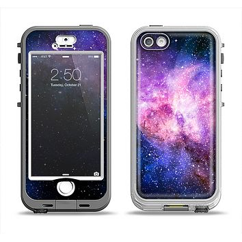 The Vibrant Purple and Blue Nebula Apple iPhone 5-5s LifeProof Nuud Case Skin Set