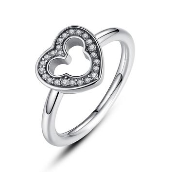 Sterling Silver Mickey Heart Ring with Clear CZ