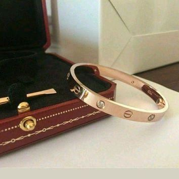ONETOW Authentic Cartier Love Bracelet in Rose Gold w 4 Diamonds Size 17