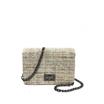 Tweed Crossbody Chain Bag