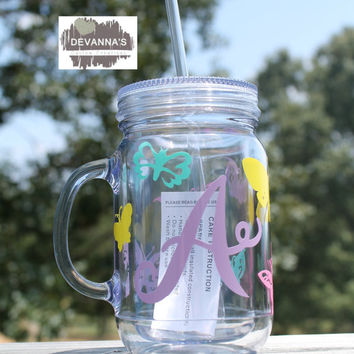 16oz Acrylic Mason Jar Double Insulate Tumbler with Lid and Straw - Pastel Initial and Butterflies