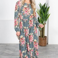 Dusty Sage Floral Maxi Dress