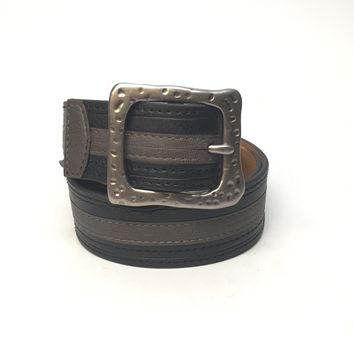 Black and Gray Stripe Leather Belt