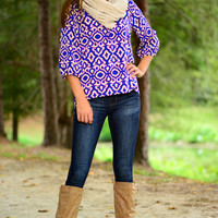 Falling For You Blouse, Royal