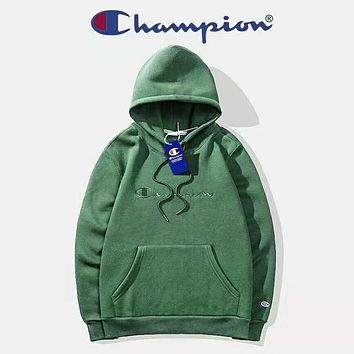 Champion Autumn And Winter New Fashion Bust Embroidery Letter Women Men High Quality Hooded Long Sleeve Sweater Top Green