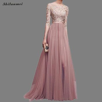 Elegant Lace Maxi Long Dresses For Women Party Wedding 3/4 Sleeve O Neck Chiffon Embroidery 2018 Summer Tule Vestidos Plus Size