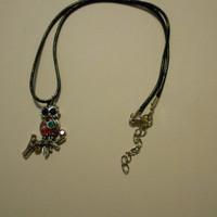 Metal Owl Glass Jeweled Necklace