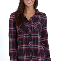 Polly and Esther Button Down Plaid Flannel Shirt for Women in Burgundy Pink PW10644