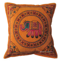 "16x16"" INDIAN VINTAGE ELEPHANT THROW CUSHION TOSS PILLOW COVER DECORATIVE ART"