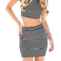 Black-White Stripe Ribbed Skirt Set