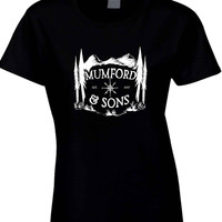 Mumford and Sons Logo Est Mountain Background Womens T Shirt