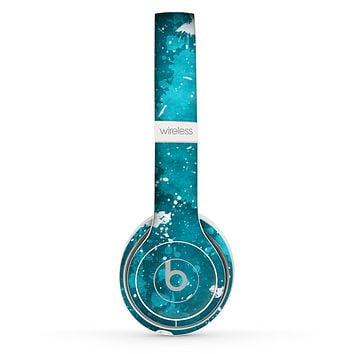 The Abstract Bleu Paint Splatter Skin Set for the Beats by Dre Solo 2 Wireless Headphones