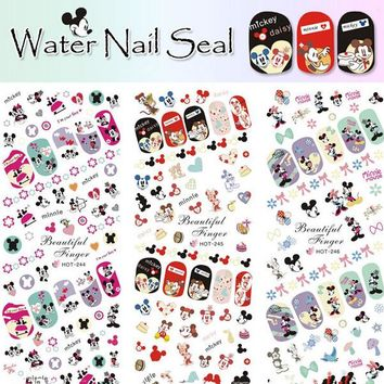 3 Sheets IN 1 Hot Nail Stickers Water Transfer Decals Manicure Watermark Stickers Tips HOT244-246 Mickey Mouse Minnie Cartoon