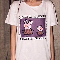 "Hot Sale ""Stussy"" Trending Gucci Peppa Pig Women Men Summer Spoof Print Short Sleeve Round Collar Couple Cotton T-Shirt Pullover Top I-JZP-36"
