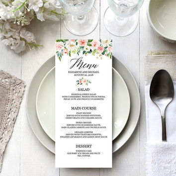 Floral menu template instant download, Editable PDF, Bridal shower menu printable, Blush greenery wedding, Elegant dinner party menu cards