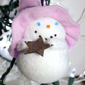 Snow Witch With Star, Snow Witch Yule Ornament, Snow Witch Christmas Ornament, Small Snow Witch Ornament, Fleece Snow Witch Ornament