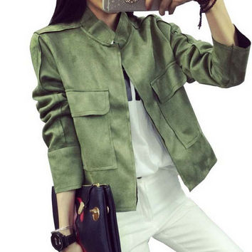 Retro Suede Casual Jacket Women All-Match Military Green Cardigan Coat 6 Colors Chaquetas Mujer S~L