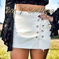 Lace Leather Skort ~ Ivory