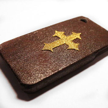 Brown & Gold Stitched Cross iPhone 4 Case by VanityCases on Etsy