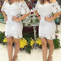 Off The Shoulder Short Sleeve Lace Bodycon Dress