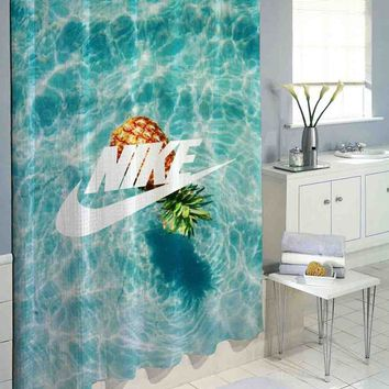 "Nike Pineapple Ocean Logo High Quality Custom Shower Curtain 60""x72"" & 66""x72"""