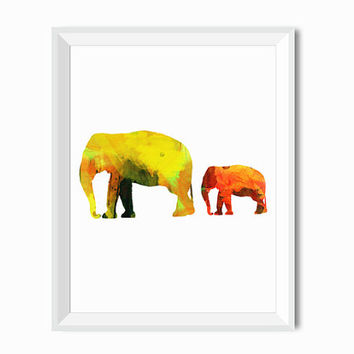Elephant Watercolor Art Print Baby Elephant Art, Animal painting Wall Decor Art Home Decor, Housewares, Watercolor Art Print, Watercolor Art