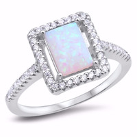 Sterling Silver CZ Lab White Opal Simulated Diamond Rectangle Halo Ring