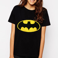 H209 Batman Print T shirts Fashion Stretch White And Black Tees Plus Size Modal Top