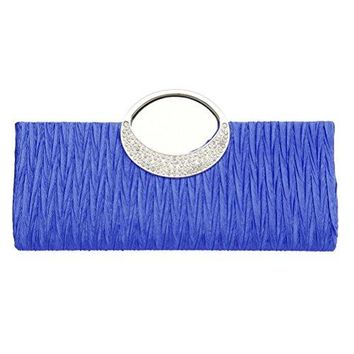 FASHIONROAD Womens Luxury Evening Wedding Party Purse Clutch Rhinestone Satin Pleated Handbag