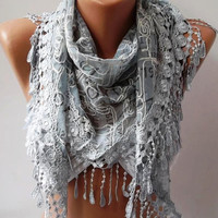 Triangular Light Grey Scarf with Trim Edge - Summer Collection