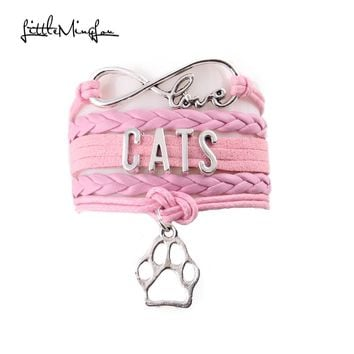 Love/Heart/Cats Paw Leather Wrap Charm Bracelet 4 Styles