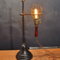 Vintage Industrial Desk Lamp - Trouble Light with Lab Stand