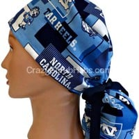 Women's Ponytail Surgical Scrub Hat in North Carolina Tarheels New Block