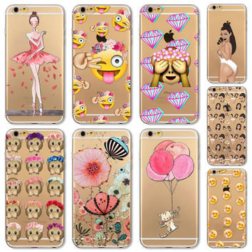 Phone Case Cover For iPhone 5 5s SE 6 6s Soft Silicon Transparent Pink Cat Ballet Girl Kim Kardashian Crying Face Emoji Cover