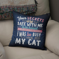 Cat Cushion Cover, Thinking About My Cat, Cat Owner Gift, Cat Lover Gift, Cat Cushion, Cat Pillow, Cat Pillow Case, Kitten Cushion,