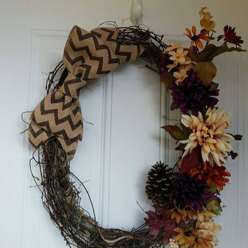 Grapevine door wreath with chevron burlap bow. Rustic wreath door hanger wall decor handmade form flower wreath bow wreath
