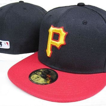 ESBON Pittsburgh Pirates New Era 59FIFTY MLB Hat Black-Red