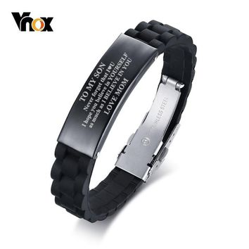 Vnox Drop Shipping TO MY SON Never forget that I LOVE YOU from Mom Dad Courage Silicone Bracelets for Men Boy Length Adjustable