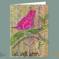 Get Well Soon card, Quilted Card, Greeting Card, fabric bird, Funny Card, printed on Cardstock 5 x7 w/ Envelope - Somber Sparrow
