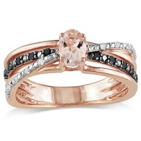 Pink Silver 1/2 Carat Morganite with Black and White Diamond Fashion Ring in Sterling Silver