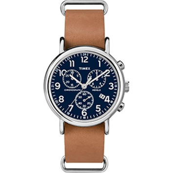 Timex Weekender® Chronograph Slip-Thru Watch - Black-Tan